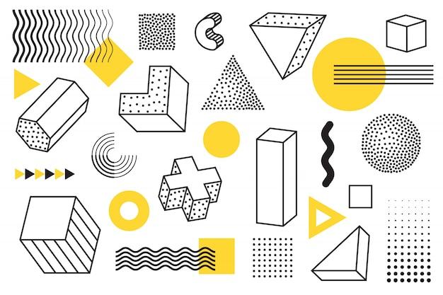 Elementy w stylu geometrycznym i memphis