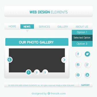Elementy web design w kolorze niebieskim
