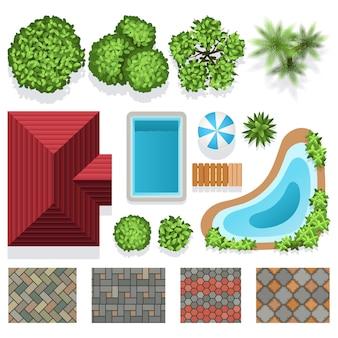 Elementy wektora projektowania ogrodu krajobrazu dla planu struktury. architektoniczny krajobrazowy illustrat