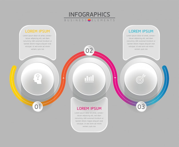 Elementy wektorowe dla plansza. prezentacja i wykres. kroki lub procesy. 3 kroki.