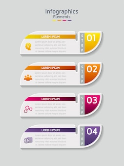 Elementy wektorowe dla plansza. prezentacja i wykres. kroki lub procesy. 4 kroki