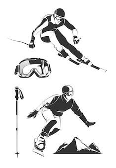 Elementy wektorowe dla rocznika etykiet i emblematów narciarskich i snowboardowych. sport narciarski, odznaka na nartach, emblemat snowboardowy, ilustracja ekstremalnych nart i snowboardów