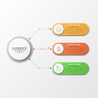 Elementy wektorowe do infografiki. szablon diagramu, wykresu, prezentacji i wykresu. koncepcja biznesowa z 3 opcjami, częściami, krokami lub procesami. abstrakcyjne tło