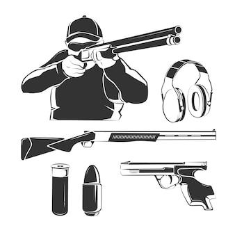 Elementy wektorowe do strzelania retro etykiet klubowych