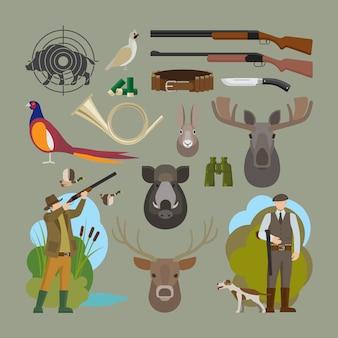 Elementy wektorowe łowieckie