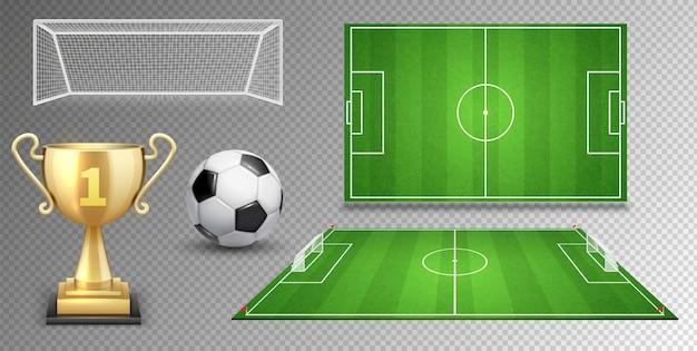 Elementy wektorowe piłki nożnej. piłka nożna piłka złoty puchar zielone pola bramek.