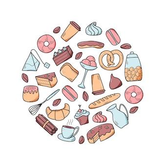 Elementy wektorowe słodkich przekąsek i ciastek, dań do kawy. doskonały do dekoracji kawiarni i menu. doodle styl ikony.