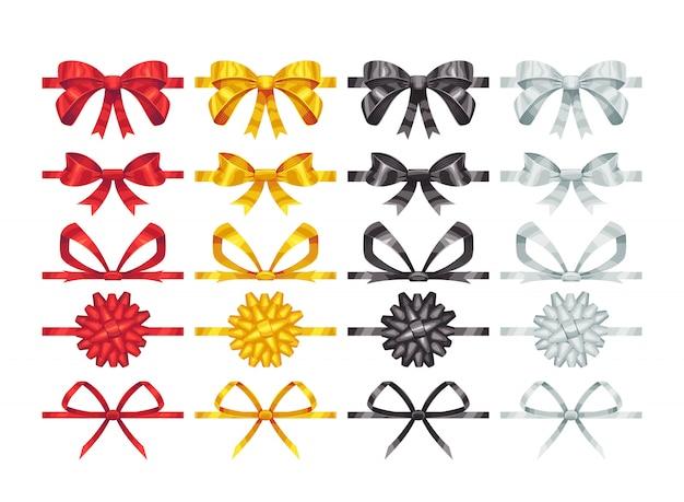 Elementy węzłów łukowych. kolekcja kolorowych elementów dekoracji kokardki.