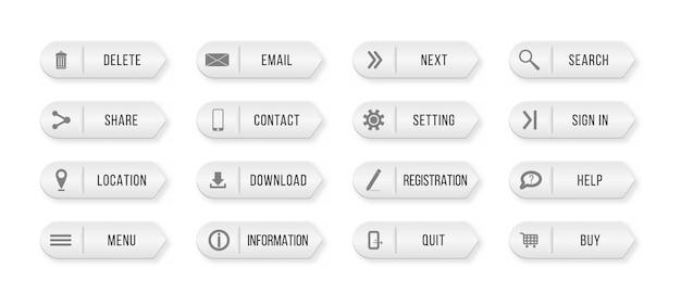 Elementy witryny lub aplikacji. kolorowe prostokątne przyciski internetowe skontaktuj się z nami. ilustracja,.