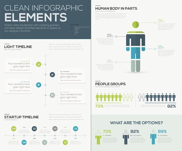 Elementy wizualizacji danych infograficznych w kolorze zielonym i niebieskim