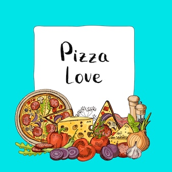 Elementy włoskiej pizzy naszkicowane stos poniżej ramki z miejscem na tekst