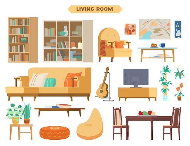 Elementy wnętrza salonu meble drewniane regały kanapa