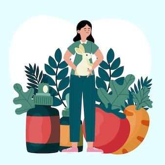 Elementy wolne od okrucieństwa i wegańskie z ilustracją kobiety