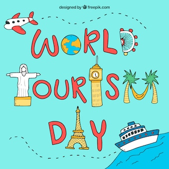 Elementy wyciągnięte ręcznie na dzień turystyki światowej
