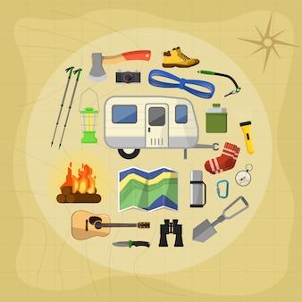 Elementy wyposażenia kempingowego i ikony