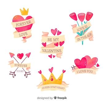 Elementy z kolekcji etykieta wstążka valentine