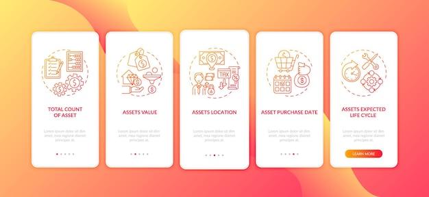 Elementy zapasów kapitału wprowadzające ekran strony aplikacji mobilnej z koncepcjami. oczekiwany cykl życia, pięciostopniowe instrukcje graficzne dotyczące lokalizacji. szablon ui z kolorowymi ilustracjami