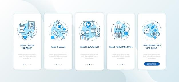 Elementy zapasów zasobów wprowadzające ekran strony aplikacji mobilnej z koncepcją