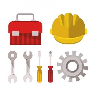 Elementy zestawu narzędzi budowlanych