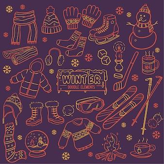 Elementy zimowe w ciepłym stylu kolorowania