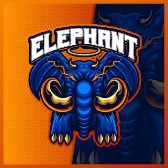 Elephant king head maskotka esport logo design ilustracje szablon wektor, logo korony słonia dla banera streamer gry zespołowej, pełny kolor stylu cartoon