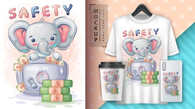 Elephant oszczędza pieniądze na ilustracji i merchandisingu