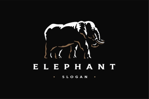 Elephant side view luxury logo brand template