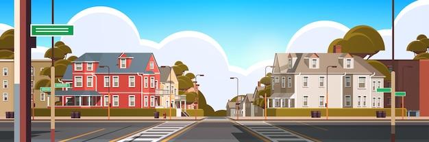 Elewacja miasta budynki puste nie ma ludzi miejska ulica nieruchomości