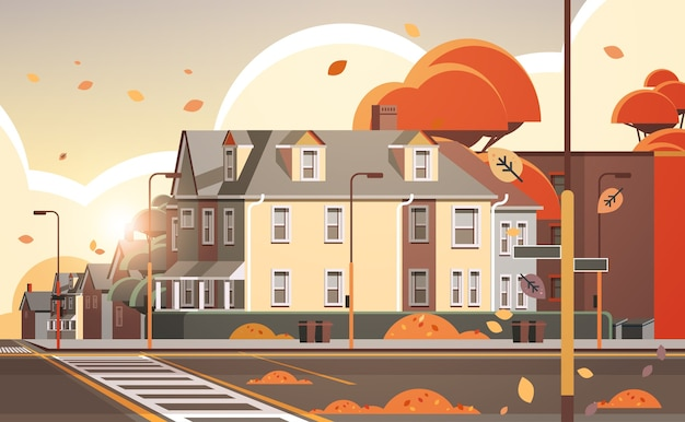 Elewacja miasta budynki puste nie ma ludzi ulica miejska domy nieruchomości