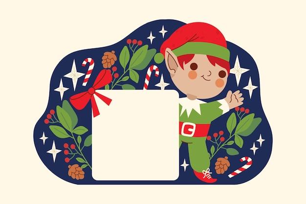Elf boże narodzenie trzymając pusty transparent