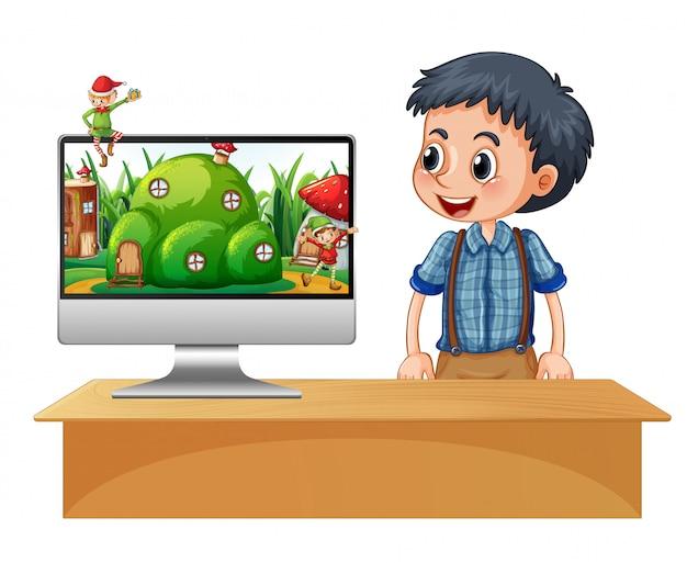 Elf na pulpicie ekranu komputera
