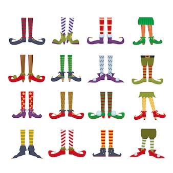 Elf stóp płaskie kreskówka kolorowe ilustracje