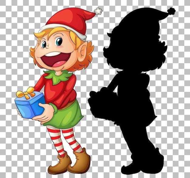 Elf trzyma pudełko na prezent