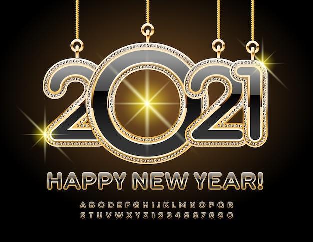 Elitarna kartka z życzeniami szczęśliwego nowego roku 2021 z genialnymi zabawkami! elegancka czcionka premium. luksusowy czarny i złoty alfabet litery i cyfry zestaw
