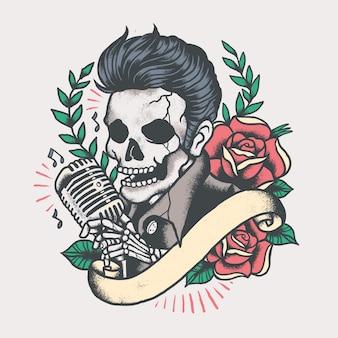 Elvis skull musician tattoo vintage