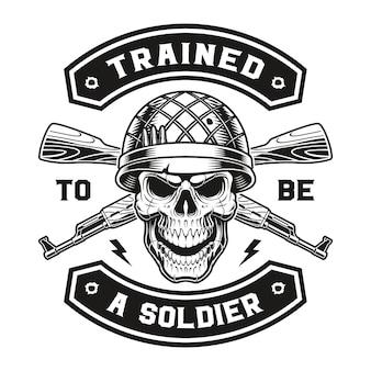 Emblemat czaszki wojskowej z karabinami kałasznikowa