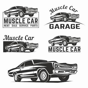 Emblemat logo klasycznego wektora muscle car