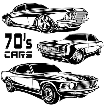 Emblemat logo wektor retro muscle car