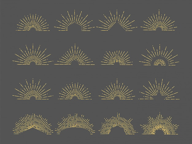 Emblemat wektor sunburst. ilustracja linii promieni promieniowych. vintage wybuch złota dla logo, karty, zaproszenia