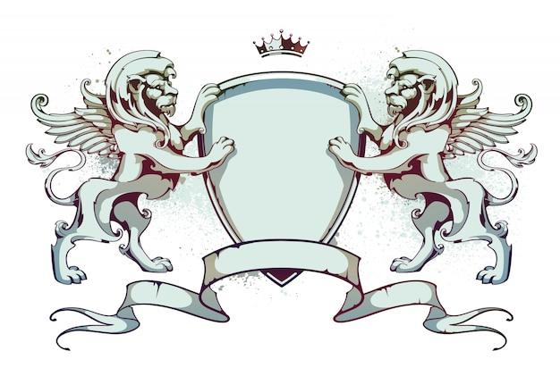 Emblemat z wstążkami i lwami