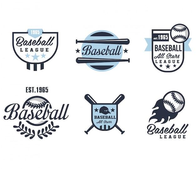 Emblematy baseballowe lub odznaki z różnymi wzorami