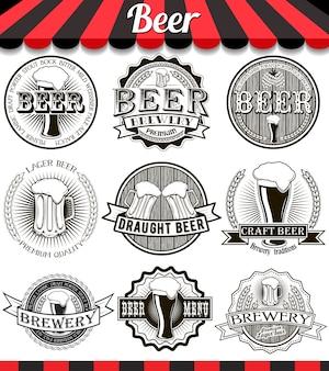 Emblematy, etykiety i elementy projektu browaru rzemieślniczego w stylu vintage