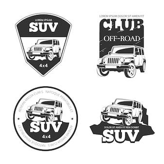 Emblematy, etykiety i logo samochodów suv. ekstremalna wyprawa terenowa, ilustracja pojazdu 4x4