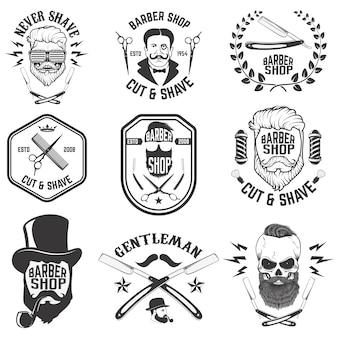 Emblematy fryzjerskie. zestaw narzędzi fryzjerskich. różne fryzury.