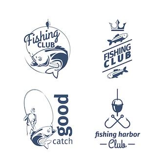Emblematy klubów wędkarskich. zestaw logo połowu ryb rzecznych z okoniem i rybakiem