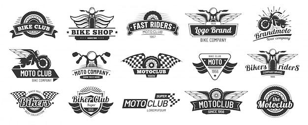 Emblematy klubu motocyklowego. odznaki jeździec retro motocykl, moto sportowe godło i motocykl sylwetka odznaka wektor zestaw