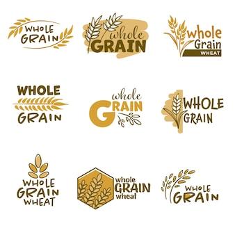 Emblematy piekarnicze lub etykiety z kłoskami i napisami