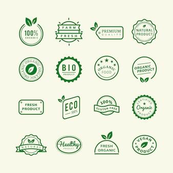 Emblematy produktów ekologicznych zestaw ilustracji
