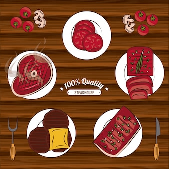 Emblematy z grillowanym stekiem