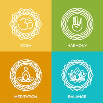 Emblematy z logo jogi ustawione dla twojego centrum jogi, studia jogi, gorącej jogi i zajęć medytacji. opieka zdrowotna, sport, logo fitness